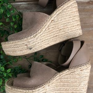 Marc Fisher Shoes - MARC FISHER Perforated Platform Espadrille Wedges